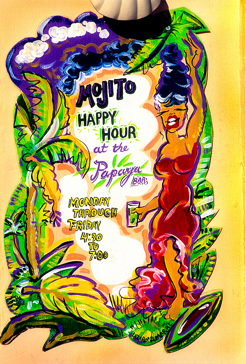A Miami Beach mural painted by Lazaro Amaral advertises Mojitos -- a Cuban cocktail with rum and mint leaves -- at the bar of Lario's on the Beach SoBe Bongo's Cafe,  co-owned by singer Gloria Estefan.