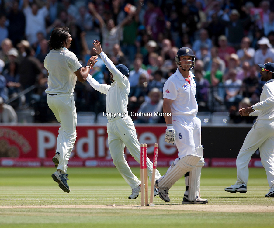 Jonathan Trott bowled by Ishant Sharma during the first npower Test Match between England and India at Lord's Cricket Ground, London.  Photo: Graham Morris (Tel: +44(0)20 8969 4192 Email: sales@cricketpix.com) 24/07/11