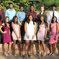RAY VAN DUSEN/BUY AT PHOTOS.MONROECOUNTYJOURNAL.COM<br /> Members of the Aberdeen High School homecoming court are front row, from left, freshman maid India Fears; sophomore maid Gabrielle Drake; junior maid Nya Cooperwood; senior maids Jaisha Eckford, Tyonia Smith and Trinity McMillian; junior maid Merijah Randle; sophomore maid Makayla Payne; and Niyah Lockett. Back row, from left, freshman escort Jaylan Loggan; sophomore escort Alonzo Shaw; junior escort Marcus Jones; senior escorts Rashad Sykes, Lashun Smith and Dequan Withers; junior escort Tylan Hubbard; sophomore escort Isaac Watson; and freshman escort Jessie Lenoir. Aberdeen High School will face Nettleton High School Sept. 29 at 7 p.m. The homecoming ceremony is at halftime when the queen will be announced.