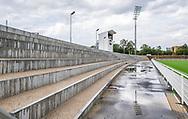 Ståpladser og TV-tårn ved indvielsen af Helsingør Kommunes nye stadion på Gl. Hellebækvej i Helsingør den 8. august 2019 (Foto: Claus Birch)