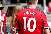 A fan of Sheffield United wearing the replica shirt of Billy Sharp of Sheffield United for the Premier League match between Sheffield United and Leicester City at Bramall Lane, Sheffield, England on 24 August 2019.