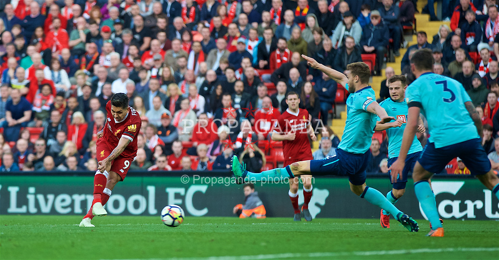 LIVERPOOL, ENGLAND - Saturday, April 14, 2018: Liverpool's Roberto Firmino scores the third goal during the FA Premier League match between Liverpool FC and AFC Bournemouth at Anfield. (Pic by Laura Malkin/Propaganda)