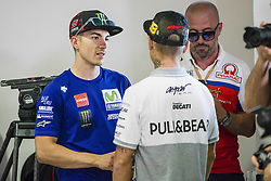 June 8, 2017 - Barcelona, Spain - MotoGP, Maverick Vinales(Spa), Movistar Yamaha Motogp Team speaking with MotoGP, Alvaro Bautista(Spa), Pull&Bear Aspar Team during the press conference of MotoGp Grand Prix Monster Energy of Catalunya, in Barcelona-Catalunya Circuit, Barcelona on 8th June 2017 in Barcelona, Spain. (Credit Image: © Urbanandsport/NurPhoto via ZUMA Press)