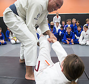 Bella Kravitz and Royce Gracie during a jiu-jitsu lesson at US Blackbelt Academy on Thursday, March 26, 2015 in Laguna Niguel, Calif. (Photo/Josh Barber)