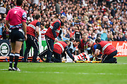 Japan wing Akihito Yamada is stretchered off during the Rugby World Cup Pool B match between Samoa and Japan at stadium:mk, Milton Keynes, England on 3 October 2015. Photo by David Charbit.