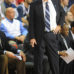 Connecticut Huskies head coach Jim Calhoun reacts to a foul called on the Connecticut Huskies during Rutgers' 67-60 upset victory over #8 UConn in NCAA Big East Basketball action at the Louis Brown Athletic Center in Piscataway, N.J. on Jan 7, 2012.