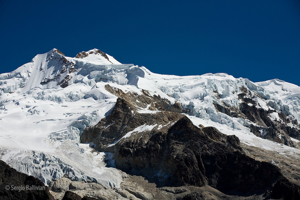 Mt. Huayna Potosi as seen from basecamp in the Cordillera Real, Bolivian Andes during winter.