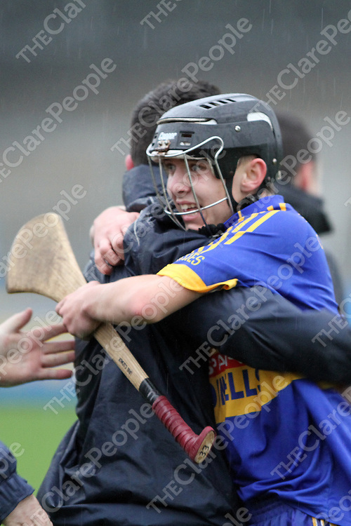 Newmarket's Ian Cusack celebrates victory over Sixmilebridge in the Clare Minor A Hurling Final. - Photograph by Flann Howard