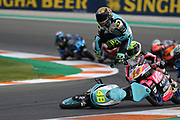 Moto3 World Champion #48 Lorenzo DALLA PORTA	ITA Leopard Racing Honda high-sides in front of #14 Tony ARBOLINO ITA VNE Snipers Honda, #21 Alonso LOPEZ SPA Estrella Galicia 0,0 Honda and #17 John MCPHEE	GBR Petronas Sprinta Racing Honda during the Gran Premio Motul de la Comunitat Valenciana at Circuito Ricardo Tormo Cheste, Valencia, Spain on 17 November 2019.