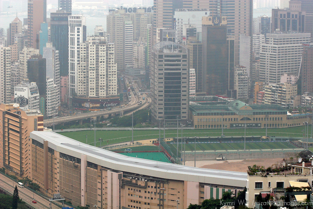 Asia, China, Hong Kong. Racetrack and Skyscrapers.