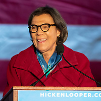 Former Colorado State Senator Lucia Guzman speaks during the first Democratic presidential campaign rally for former Colorado Governor John Hickenlooper, held at the Greek Amphitheater in Denver's Civic Center Park on Thursday, March 7, 2019. Photo by Andy Colwell, special to the Colorado Sun