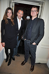 Left to right, PIERS ADAM with his wife SOPHIE and interior designer RUSSELL SAGE at the launch of Quintessentially Soho at the House of St Barnabas, 1 Greek Street, London on 29th September 2009.<br /> <br /> <br /> <br /> <br /> BYLINE MUST READ: donfeatures.com<br /> <br /> *THIS IMAGE IS STRICTLY FOR PAPER, MAGAZINE AND TV USE ONLY - NO WEB ALLOWED USAGE UNLESS PREVIOUSLY AGREED. PLEASE TELEPHONE 07092 235465 FOR THE UK OFFICE.*