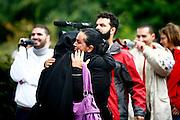 Dietzenbach | 24.07.2011..Am Samstag (24.07.2011) hielt der Salafist und radikale Islamist Pierre Vogel (Abu Hamza) in Dietzenbach (Landkreis Offenbach) vor etwa 200 Menschen einen Vortrag..Hier: Eine junge Frau, die kurz zuvor das islamische Glaubensbekenntnis abgelegt hat und dem Islam beigetreten ist, umarmt eine Frau, die ein Kopftuch traegt...©peter-juelich.com..[No Model Release | No Property Release]