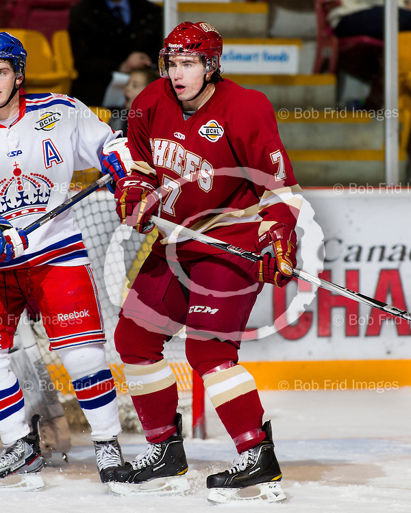 13 January  2012:  Anderson White (7) of the Chiefs  during a game between the Chilliwack Chiefs and the Prince George Spruce Kings.  Prospera Centre, Chilliwack, BC.    ****(Photo by Bob Frid/Freemotionphotography.ca) All Rights Reserved : cell 778-834-2455 : email: bob.frid@shaw.ca ****