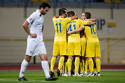 Players of NK Domzale celebrate goal during football match between NK Domzale and NK Rudar in Round #2 of Prva liga Telekom Slovenije 2018/19, on April 29, 2018 in Sports Park Domzale, Domzale, Slovenia. Photo by Urban Urbanc / Sportida
