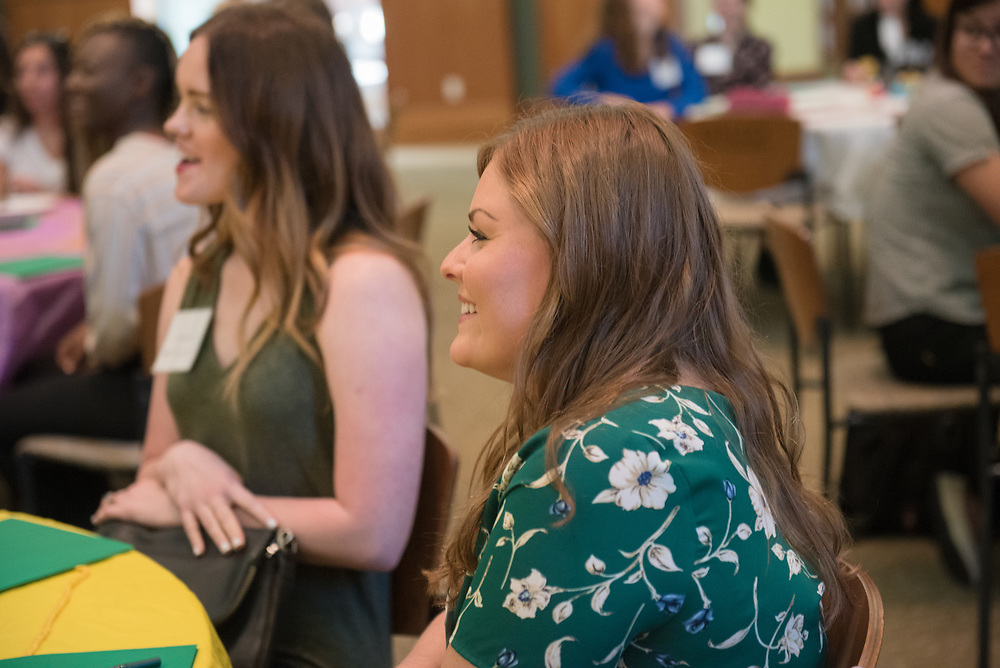 Julia Martello smiles as she participates in an activity prior to meeting her mentor during the Women's Mentoring Meet and Greet event on Sept. 4, 2018 in Walter Rotunda. Photo by Hannah Ruhoff