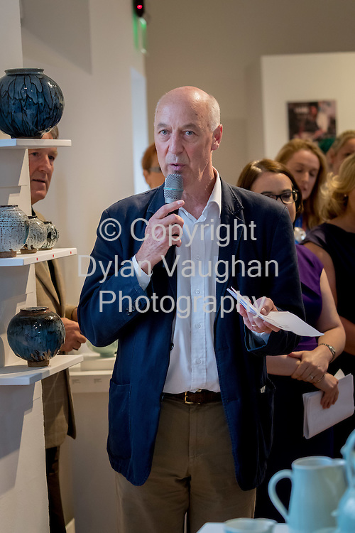 Repro Free No Charge for use<br /> <br /> 15-7-16<br /> <br /> Gus Mabelson, Ceramics Skills and Design Course Manager pictured at the opening of Cr&eacute;, an exhibition of work by the 2016 graduates of the Design &amp; Crafts Council of Ireland&rsquo;s Ceramics Skills &amp; Design Course. <br /> <br /> The exhibition was officially opened by Dr. Audrey Whitty, Keeper of the Art and Industrial Division, National Museum of Ireland &ndash; Decorative Arts &amp; History. <br /> <br /> Cr&eacute; is open at the National Craft <br /> Gallery, Kilkenny until 1st August 2016.<br /> <br /> Picture Dylan Vaughan
