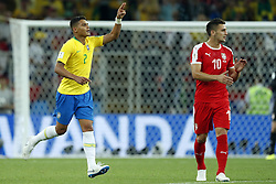 (l-r) Thiago Silva of Brazil, Dusan Tadic of Serbia during the 2018 FIFA World Cup Russia group E match between Serbia and Brazil at the Otkrytiye Arena on June 27, 2018 in Moscow, Russia