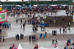 View from the ferris wheel, showing the main arena, Sunday at T in the Park 2012, held at Balado, in Fife, Scotland.