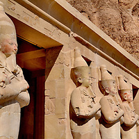 Osiris Statues at Deir el-Bahari or Temple of Queen Hatshepsut in Luxor, Egypt<br />