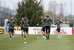 April 2, 2018 - Vinovo, Piedmont/Turin, Italy - Paulo Dybala, Cluadio Marchisio and Andrea Barzagli during the training session before the Champions League match against Real Madrid, in Vinovo at Juventus Center, Italy 2nd April 2018  (Credit Image: © Alberto Gandolfo/Pacific Press via ZUMA Wire)