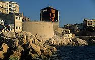 France. Marseille. Zinedine zidane football star painting on the sea side  Marseille  France  / affiche de la star du football Zinedine Zidane sur le front de mer  Marseille  France  /     L0008243  /  R20711  /  P115705
