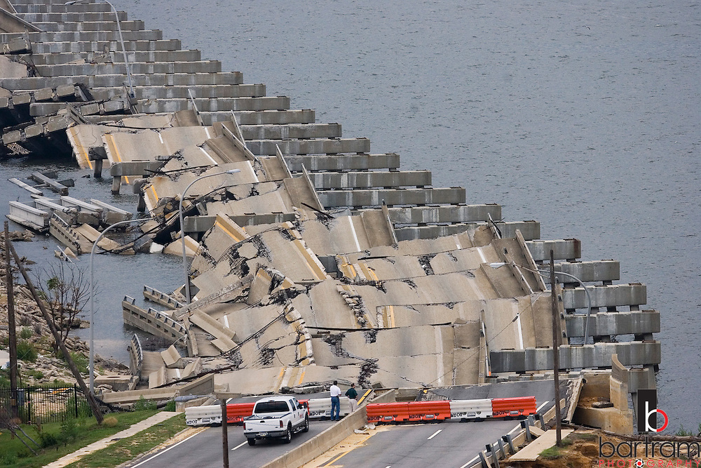 KEVIN BARTRAM/The Daily News.The US Highway 90 bridge connecting Biloxi, Miss to Ocean Springs is shown on Wednesday, May 10, 2006. The bridge was damaged during Hurricane Katrina last August. .