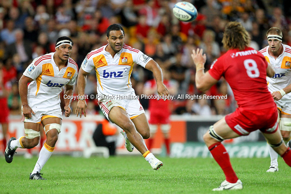 Chiefs Lelia Masaga chips ahead during the Super Rugby game at Suncorp Stadium, Sunday 13, May 2012 .