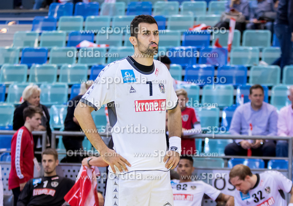 02.11.2016, Arena Nova, Wiener Neustadt, AUT, EHF, Handball EM Qualifikation, Österreich vs Finnland, Gruppe 3, im Bild Janko Bozovic (AUT)// during the EHF Handball European Championship 2018, Group 3, Qualifier Match between Austria and Finland at the Arena Nova, Wiener Neustadt, Austria on 2016/11/02. EXPA Pictures © 2016, PhotoCredit: EXPA/ Sebastian Pucher