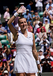 LONDON, ENGLAND - Thursday, July 4, 2019: Petra Kvitova (CZE) celebrates after winning her match during the Ladies' Singles second round match on Day Four of The Championships Wimbledon 2019 at the All England Lawn Tennis and Croquet Club. Kvitova won 7-5, 6-2. (Pic by Kirsten Holst/Propaganda)