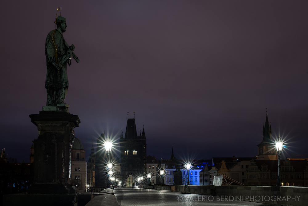 Quintessential Prague landscape, Charles Bridge and its statue