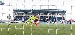 Ayr United's Gary Harkins scoring their goal. Falkirk 1 v 1 Ayr United, Scottish Championship game played 14/1/2017at The Falkirk Stadium .