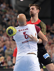 11.03.2016, Leipzig, GER, Handball Länderspiel, Deutschland vs Katar, Herren, im Bild Fabian Wiede (GER #10) gegen Marko Bagaric (QAT #5) // during the men's Handball international Friendlies between Germany and Qatar in Leipzig, Germany on 2016/03/11. EXPA Pictures © 2016, PhotoCredit: EXPA/ Eibner-Pressefoto/ Modla<br /> <br /> *****ATTENTION - OUT of GER*****