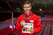 Pavel Maslak of the Czech Republic with his gold medal after winning the Men's 400m Final at the IAAF World Indoor Championships day three at the National Indoor Arena, Birmingham, United Kingdom on 3 March 2018. Photo by Martin Cole.