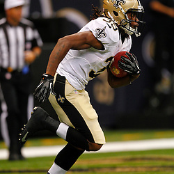 August 17, 2012; New Orleans, LA, USA; New Orleans Saints running back Travaris Cadet (39) against the Jacksonville Jaguars during the first half of a preseason game at the Mercedes-Benz Superdome. Mandatory Credit: Derick E. Hingle-US PRESSWIRE