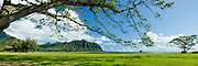 View of Kualoa ridge and Chinaman's Hat island in Kaneohe Bay, Oahu, Hawaii