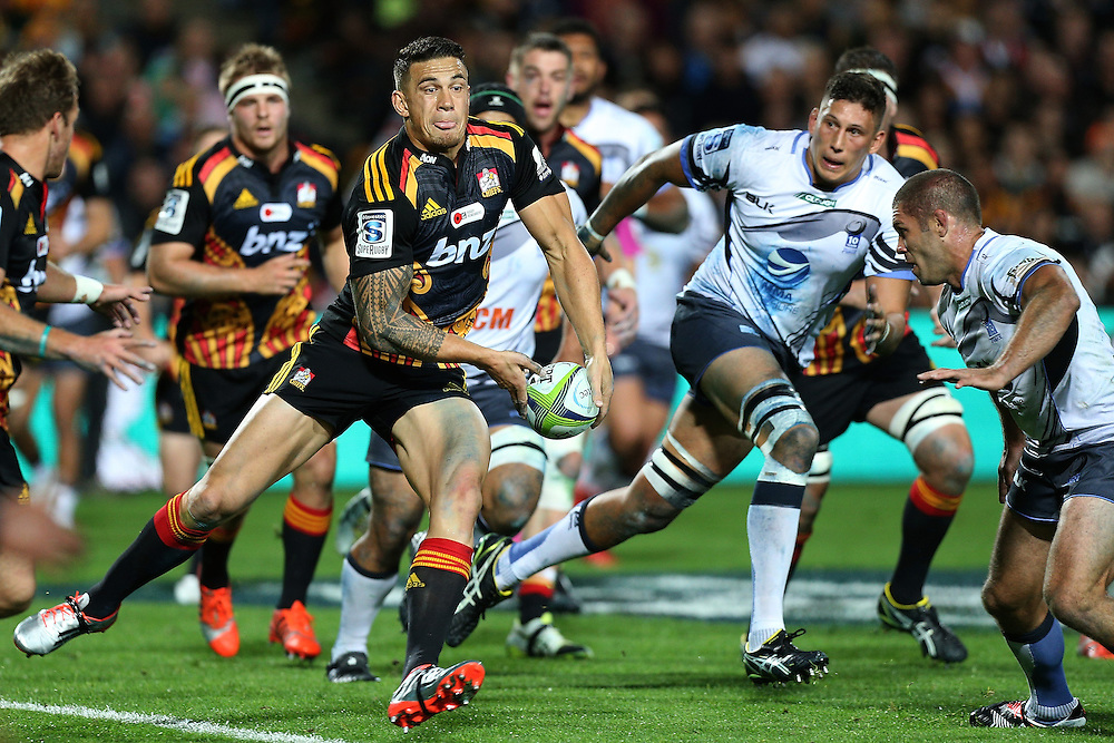 Sonny Bill Williams of the Chiefs with the ball during the Round 11 Super Rugby match between the Chiefs and Western Force at Waikato Stadium in Hamilton, Friday, April 24, 2015.   Credit:SNPA / David Rowland
