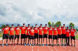 Team photo during fitness training of Slovenian Ski jumping Men team, on May 8, 2018 in Stadium Kranj, Slovenia. Photo by Vid Ponikvar / Sportida