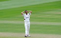 Dejection for Somerset's Alfonso Thomas. Photo mandatory by-line: Harry Trump/JMP - Mobile: 07966 386802 - 24/05/15 - SPORT - CRICKET - LVCC County Championship - Division 1 - Day 1- Somerset v Sussex Sharks - The County Ground, Taunton, England.