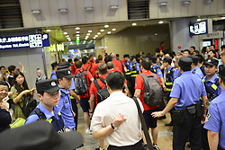 July 20, 2017 - Beijing, Beijing, China - Beijing, CHINA-July 20 2017: (EDITORIAL USE ONLY. CHINA OUT) ..Football fans welcome Arsenal at Beijing Airport in Beijing, July 20th, 2017. Arsenal will compete with Chelsea at London Derby in Beijing National Stadium on July 22nd, 2017. (Credit Image: © SIPA Asia via ZUMA Wire)