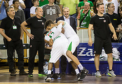 Brandon Jefferson #13 of KK Union Olimpija and Devin Oliver #5 of KK Union Olimpija react during basketball match between KK Union Olimpija and KK Rogaska in 4th Final game of Liga Nova KBM za prvaka 2016/17, on May 24, 2017 in Hala Tivoli, Ljubljana, Slovenia. Photo by Vid Ponikvar / Sportida