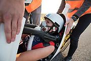 Aniek Rooderkerken stapt uit de VeloX 7 op de vijfde racedag. Het Human Power Team Delft en Amsterdam, dat bestaat uit studenten van de TU Delft en de VU Amsterdam, is in Amerika om tijdens de World Human Powered Speed Challenge in Nevada een poging te doen het wereldrecord snelfietsen voor vrouwen te verbreken met de VeloX 7, een gestroomlijnde ligfiets. Het record is met 121,81 km/h sinds 2010 in handen van de Francaise Barbara Buatois. De Canadees Todd Reichert is de snelste man met 144,17 km/h sinds 2016.<br /> <br /> With the VeloX 7, a special recumbent bike, the Human Power Team Delft and Amsterdam, consisting of students of the TU Delft and the VU Amsterdam, wants to set a new woman's world record cycling in September at the World Human Powered Speed Challenge in Nevada. The current speed record is 121,81 km/h, set in 2010 by Barbara Buatois. The fastest man is Todd Reichert with 144,17 km/h.