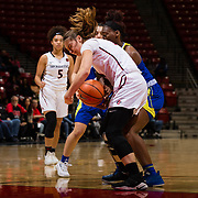 24 February 2018: The San Diego State women's basketball team closes out it's home schedule of the regular season Saturday afternoon against San Jose State. San Diego State Aztecs forward Arantxa Gomez Ferrer (11) battles a San Jose State player for rebound in the first half.  At halftime the Aztecs lead the Spartans 36-33 at Viejas Arena.<br /> More game action at sdsuaztecphotos.com