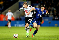 Matej Vydra of Derby County takes on Ben Chilwell of Leicester City - Mandatory by-line: Robbie Stephenson/JMP - 08/02/2017 - FOOTBALL - King Power Stadium - Leicester, England - Leicester City v Derby County - Emirates FA Cup fourth round replay