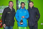 Forest Green Rovers Fabien Robert(26) receives his man of the match award from match sponsors Bruton Knowles during the Vanarama National League match between Forest Green Rovers and Solihull Moors at the New Lawn, Forest Green, United Kingdom on 21 March 2017. Photo by Shane Healey.