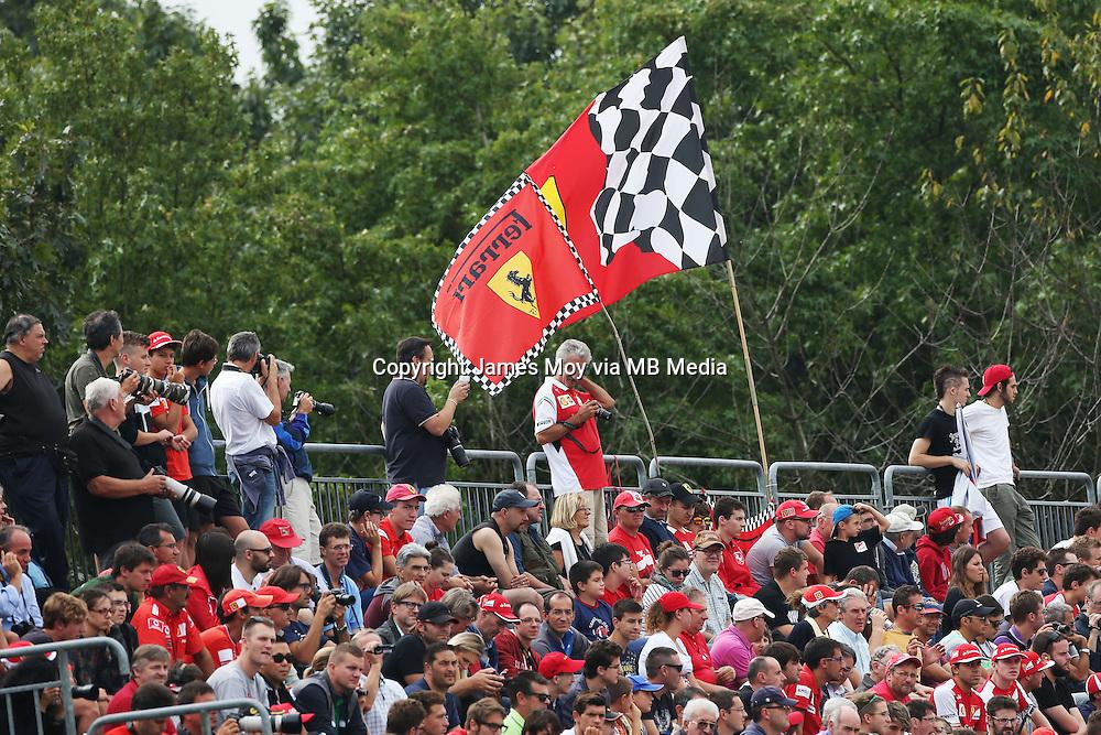 Ferrari flag and fans.<br /> Italian Grand Prix, Friday 5th September 2014. Monza Italy.