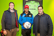 Matchball sponsors with Forest Green Rovers Keanu Marsh-Brown(7) during the Vanarama National League match between Forest Green Rovers and Lincoln City at the New Lawn, Forest Green, United Kingdom on 19 November 2016. Photo by Shane Healey.
