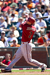 May 30, 2010; San Francisco, CA, USA;  Arizona Diamondbacks second baseman Kelly Johnson (2) at bat against the San Francisco Giants during the eighth inning at AT&T Park.  San Francisco defeated Arizona 6-5 in 10 innings.