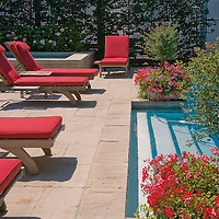 A contemporary garden and swimming pool with flagstone paving, planters a decorative privacy screen and lounge furniture.