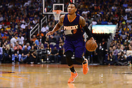Feb 10, 2016; Phoenix, AZ, USA; Phoenix Suns guard Orlando Johnson (0) dribbles the ball up the court against the Golden State Warriors at Talking Stick Resort Arena. The Golden State Warriors won 112-104. Mandatory Credit: Jennifer Stewart-USA TODAY Sports